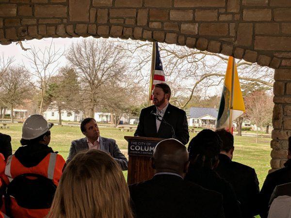 Columbus City Councilmember Rob Dorans speaks at CBA signing Columbus Building Trades